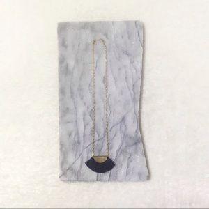 Tassel Fringe Gold Half Moon Necklace Geometric